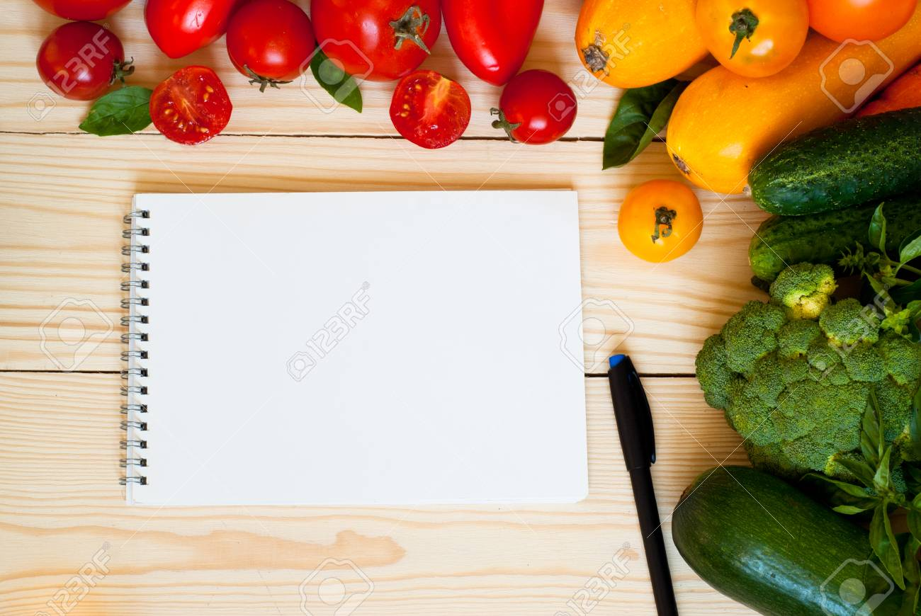 Organic Food Background Fresh Vegetables At Wooden Table Free