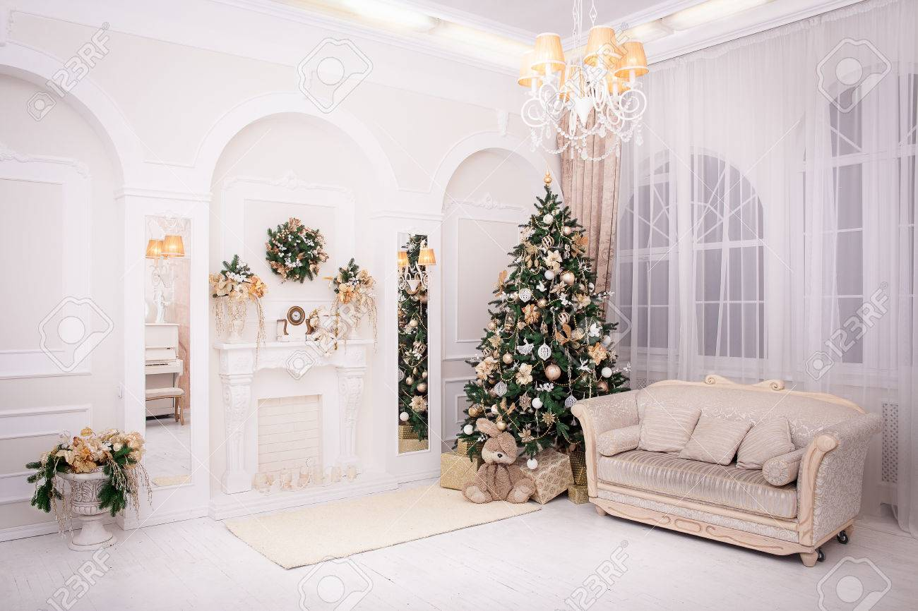 Classic Interior Room Decorated In Christmas Style With Christmas Tree And  Gifts Stock Photo   49635056
