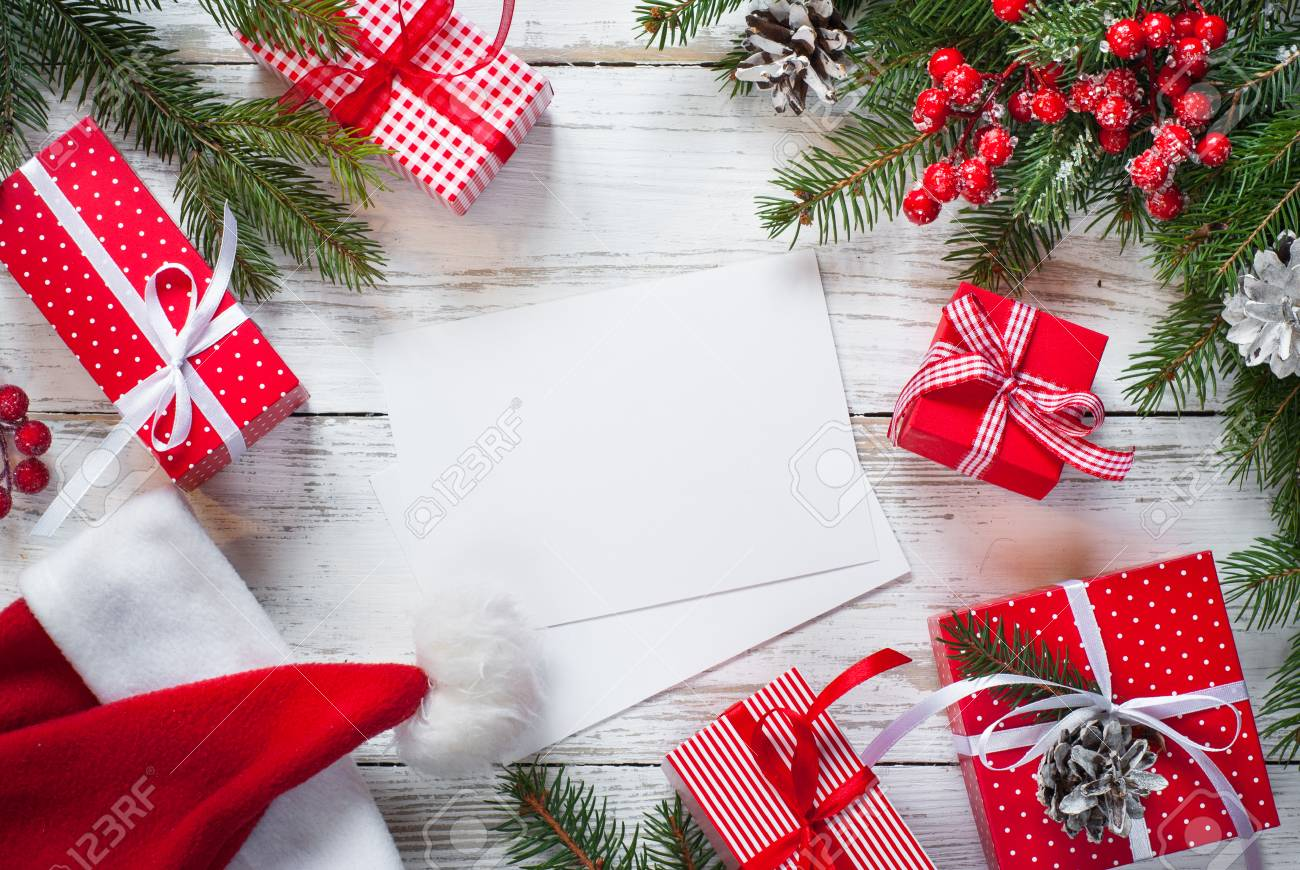 Christmas Gift Box. Christmas Presents In Red Boxes And Greeting ...