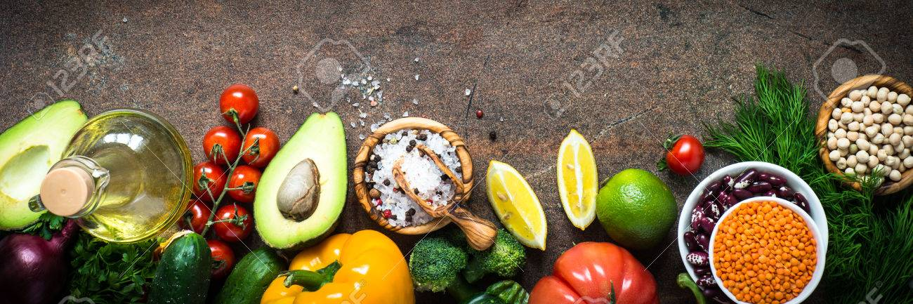 Vegetarian Food Background. Organic Food For Healthy Vegan Nutrition...  Stock Photo, Picture And Royalty Free Image. Image 80350094.