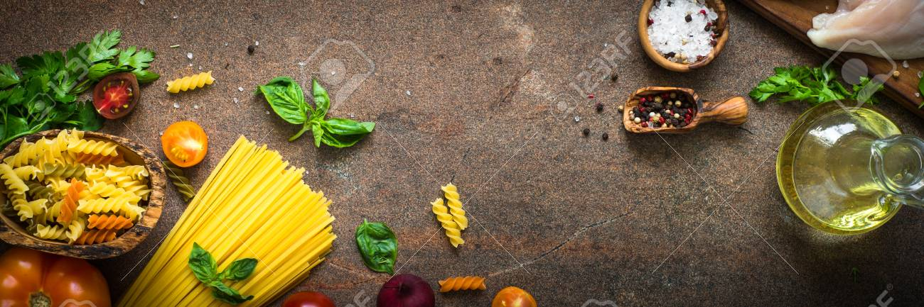 Italian Food Background. Pasta And Meat. Long Banner Format. Stock Photo,  Picture And Royalty Free Image. Image 82244490.