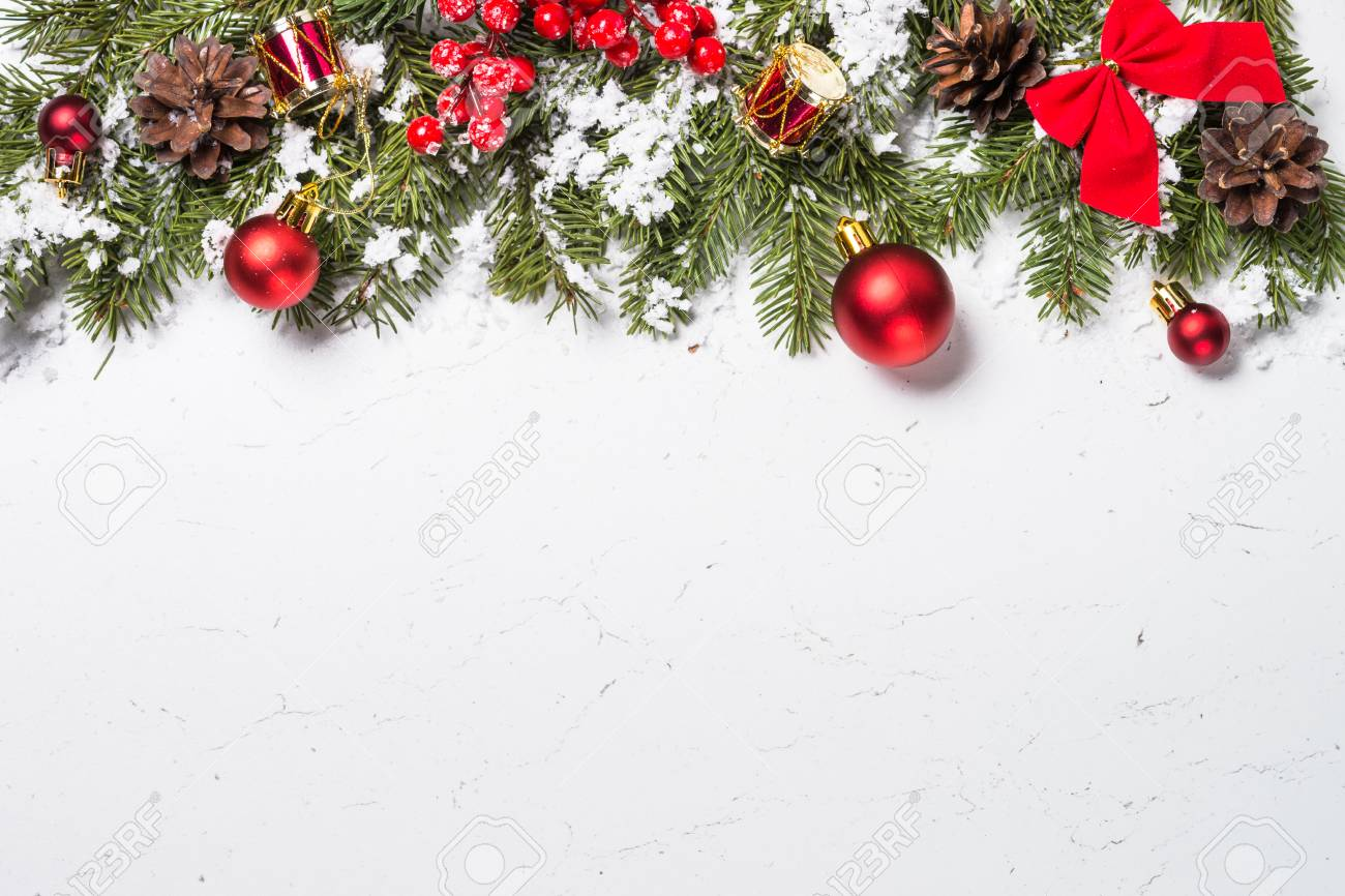 Christmas Background Red Christmas Decorations With Snow Fir