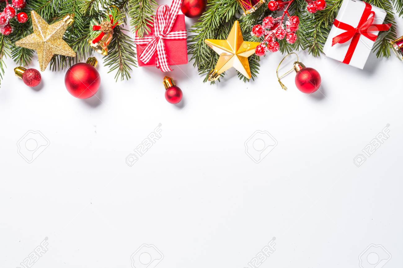 Christmas Background Red And Gold Christmas Decorations And