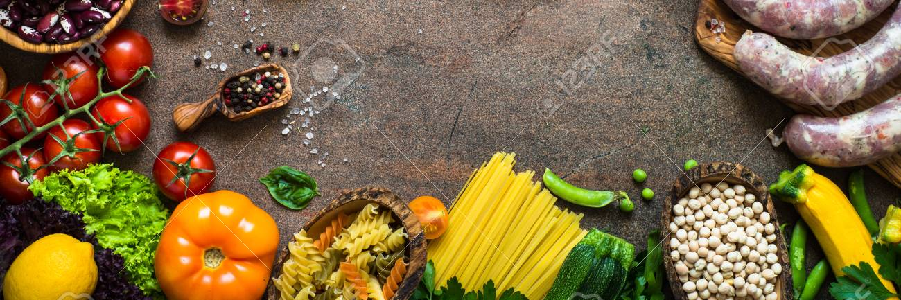 Healthy Food Background Meat Beans Cheese Pasta And Vegetables Stock Photo Picture And Royalty Free Image Image 94371753