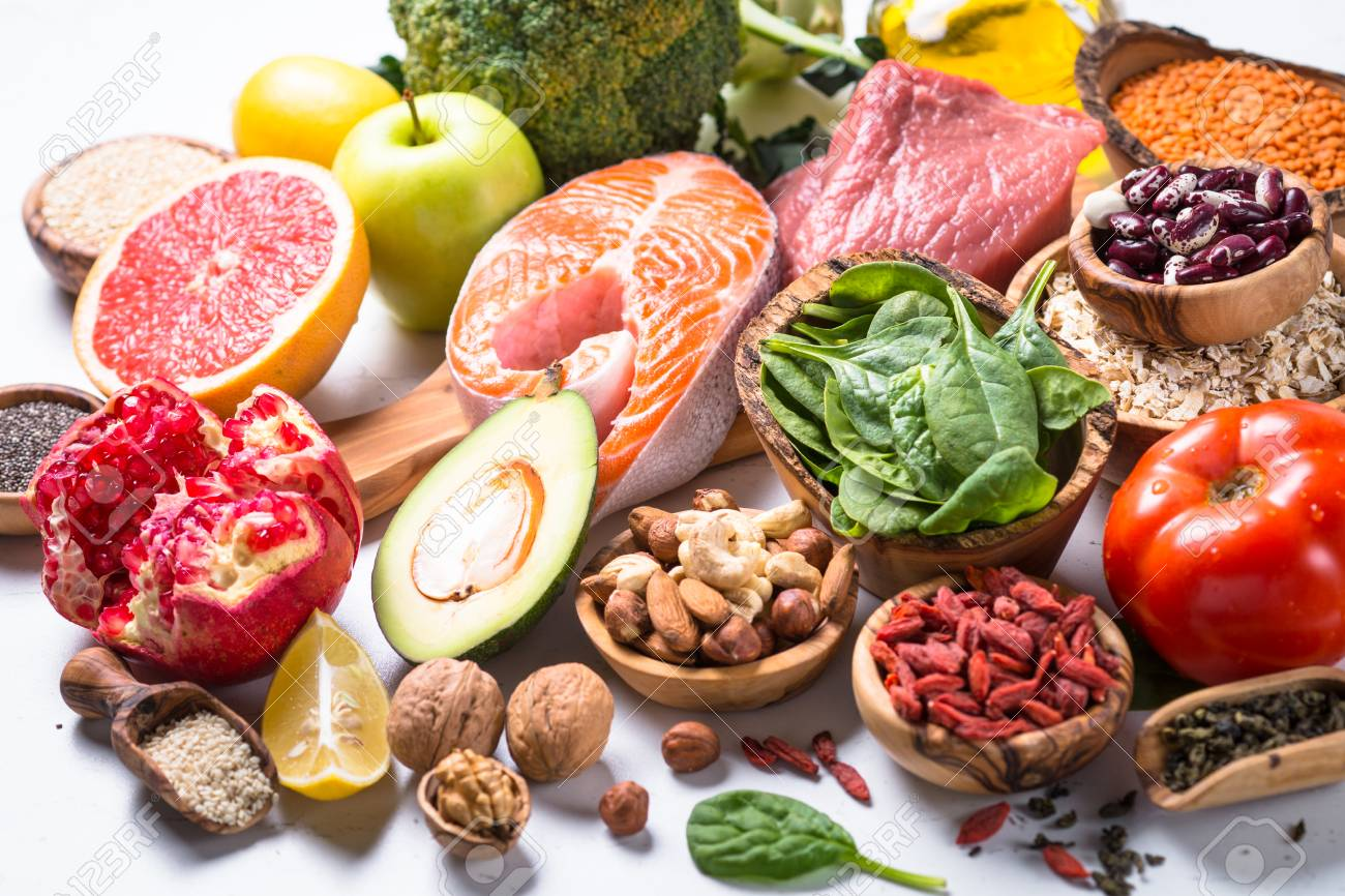 Healthy Food - Meat, Fish, Legumes, Nuts, Seeds And Vegetables ...