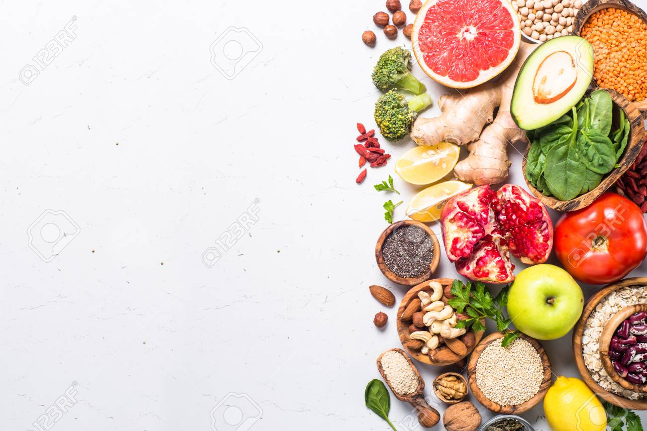 Superfoods On White Background Healthy Vegan Nutrition Stock Photo Picture And Royalty Free Image Image 97188393