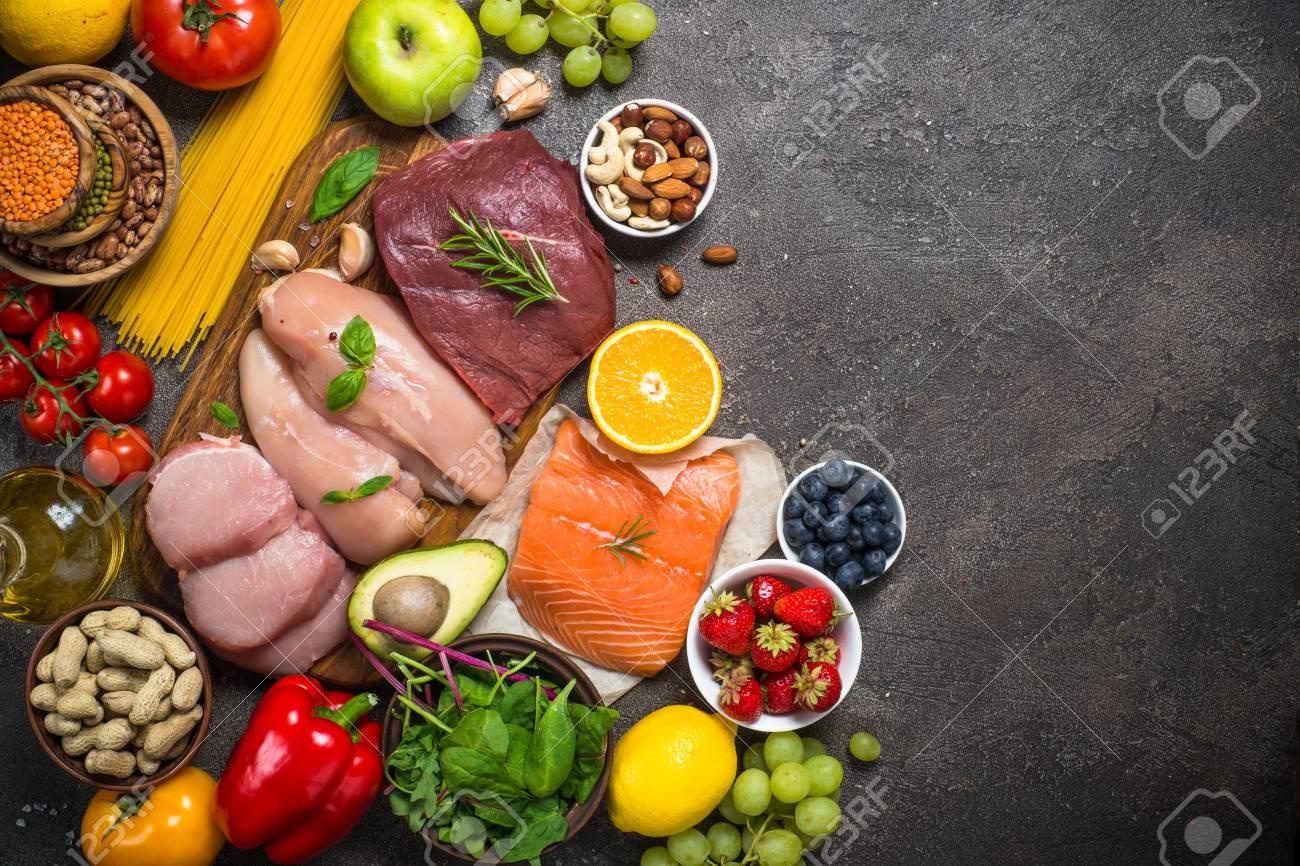 Balanced diet food background. - 105785488
