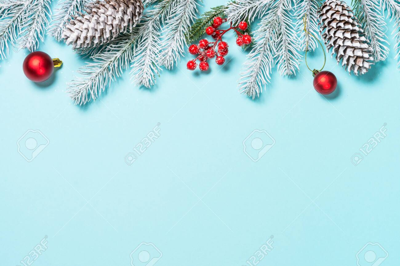 Christmas flat lay background on blue. - 133608542