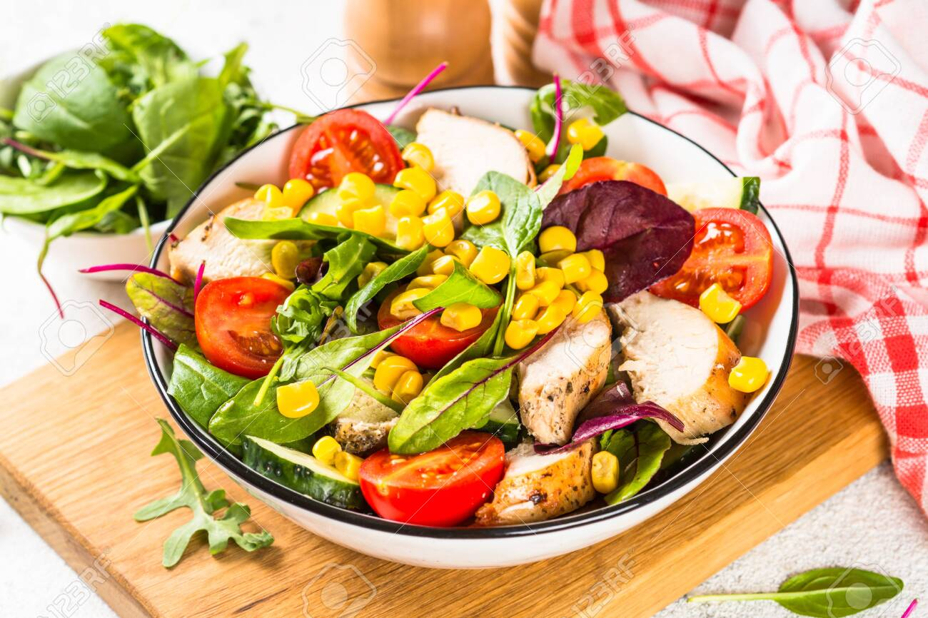 Salad with Chicken and vevetables. Healthy food, diet lunch concept. - 137731801