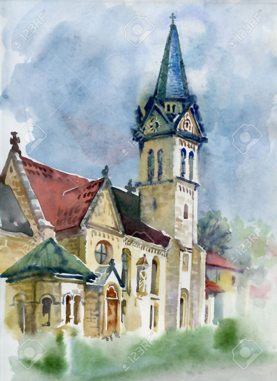 watercolor landscape collection village life stock photo picture