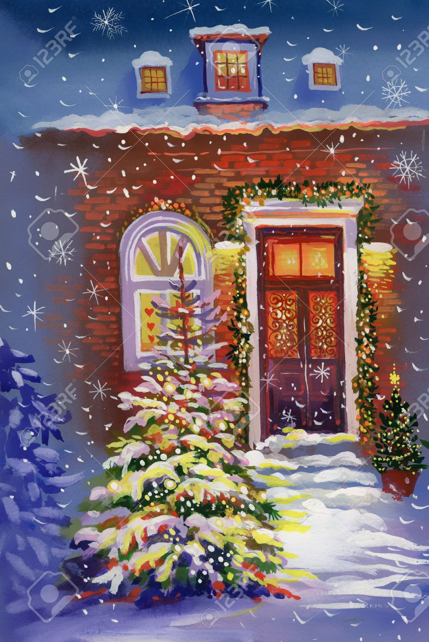 Christmas house painting - Stock Photo Watercolor House With Christmas Tree