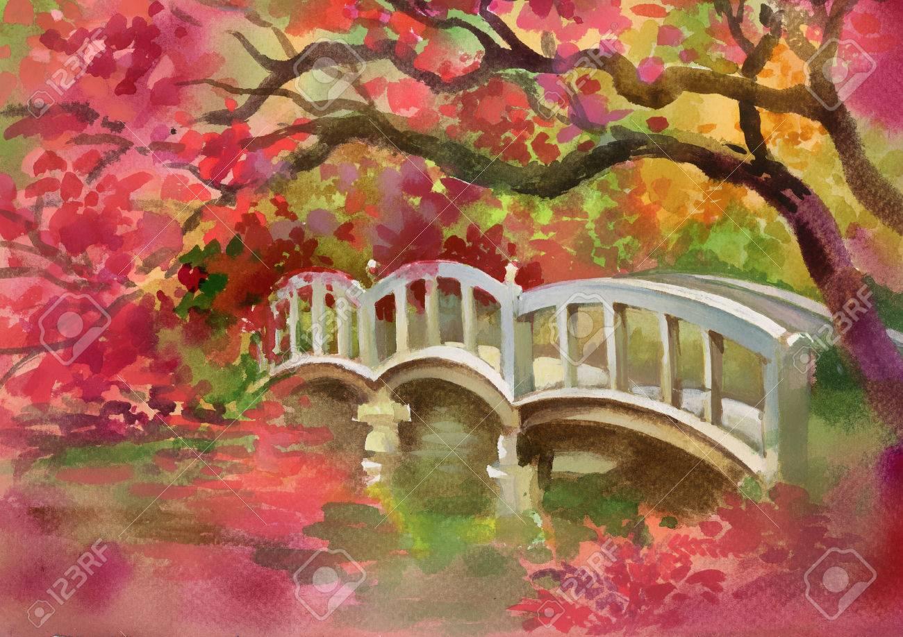 Рисунки моста акварелью