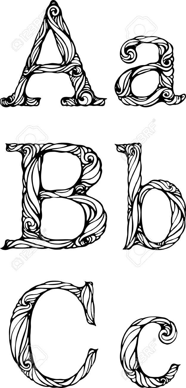 Black And White Letters A B C With Curly Pattern Royalty Free