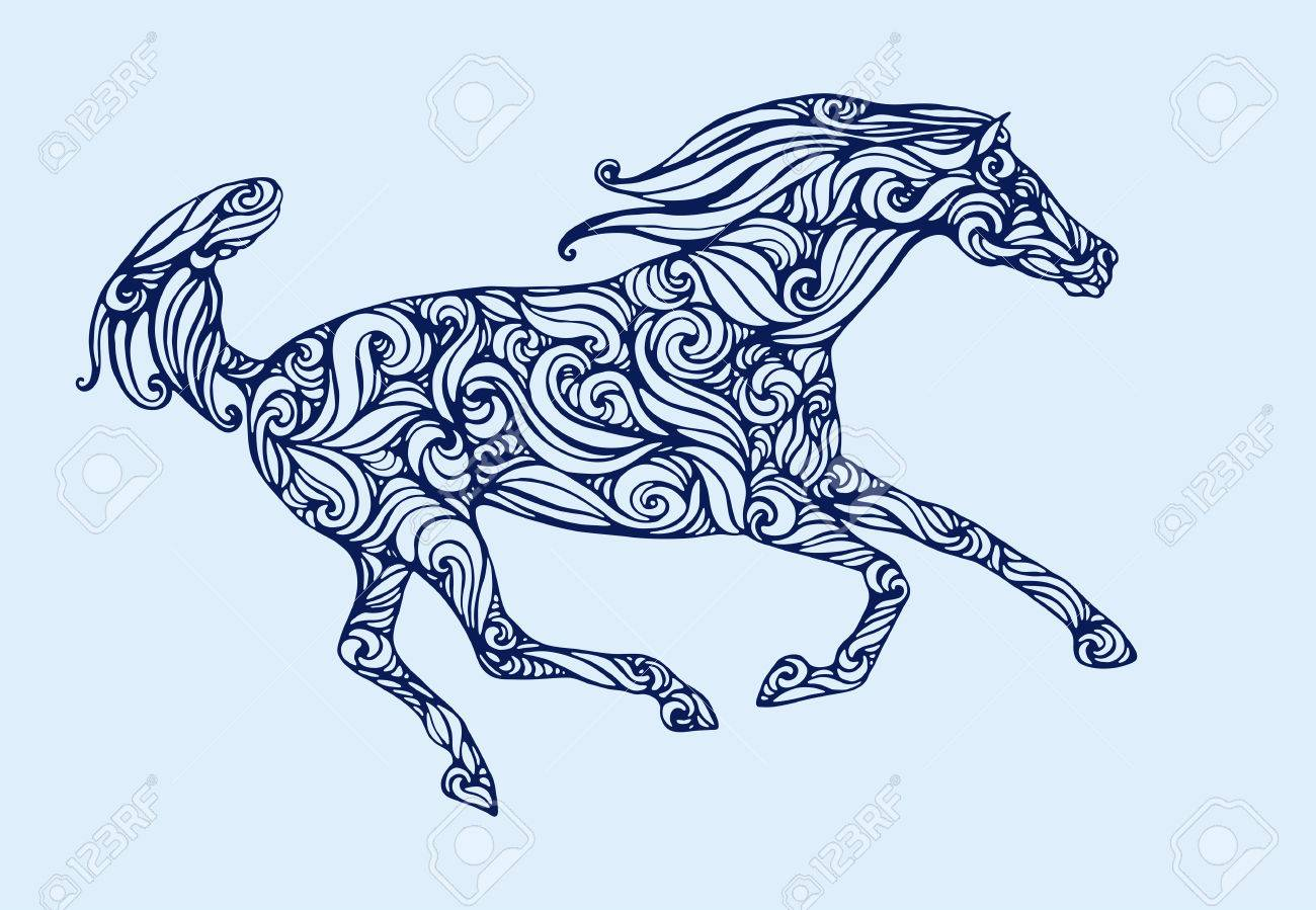 Silhouette Of Running Horse Fillid With Abstract Pattern Royalty Free Cliparts Vectors And Stock Illustration Image 34590995