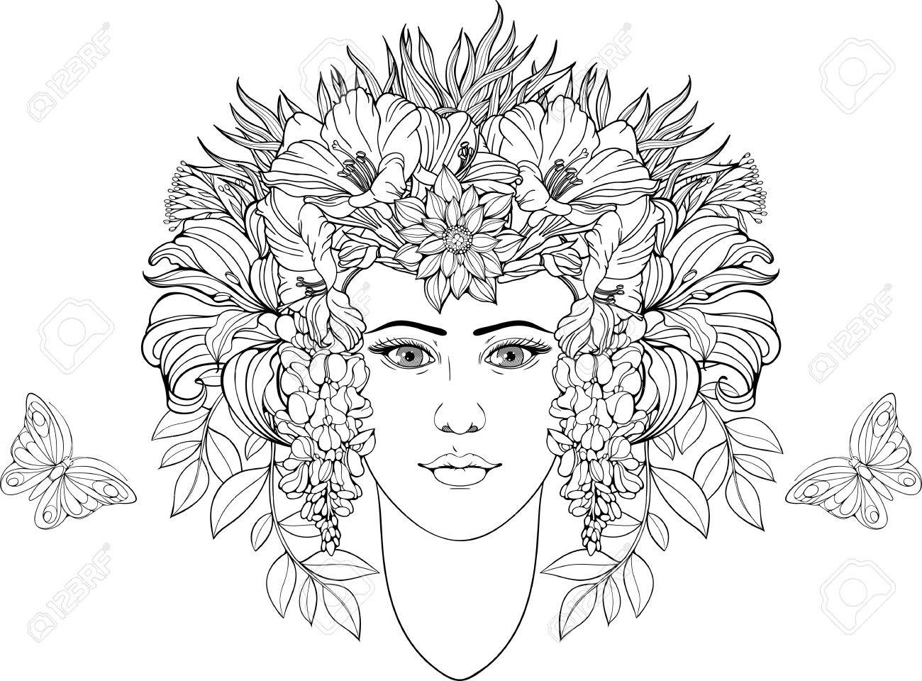 Coloring Page Of Portrait Of Girl With Flowers In Hair Royalty Free ...