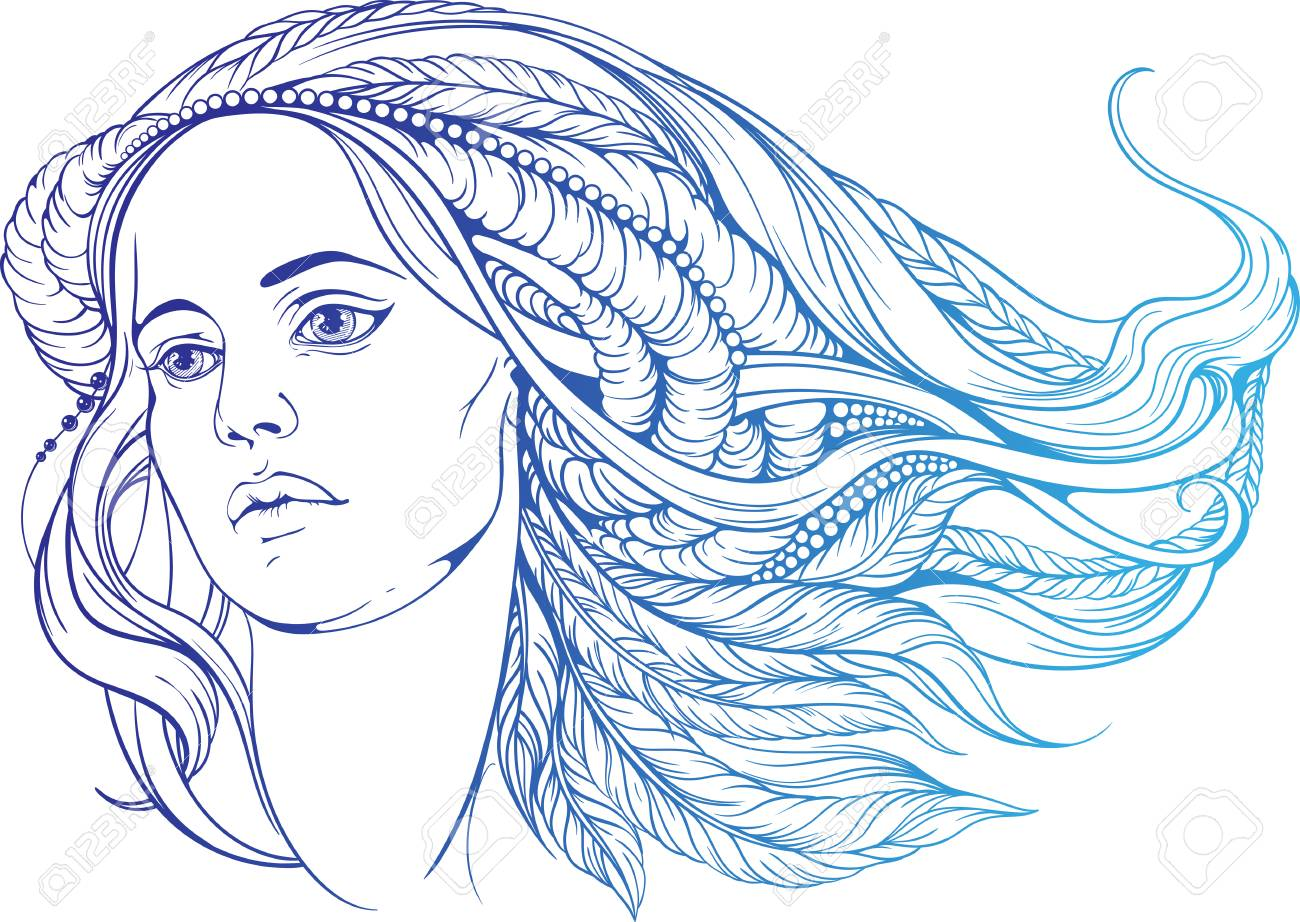 portrait of a woman with hippie-style hair. in blue colors - 54107910