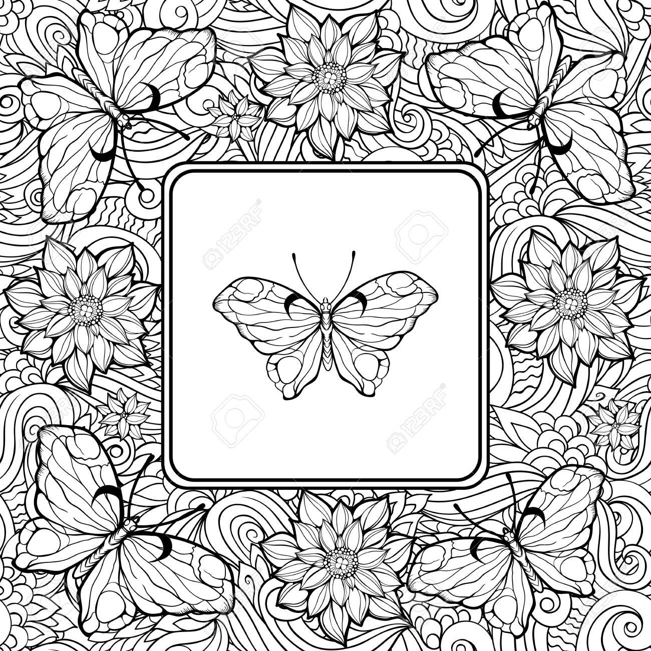 Dibujo Para Colorear Con La Mariposa En El Centro Y El Patrón De Flores Y Mariposas