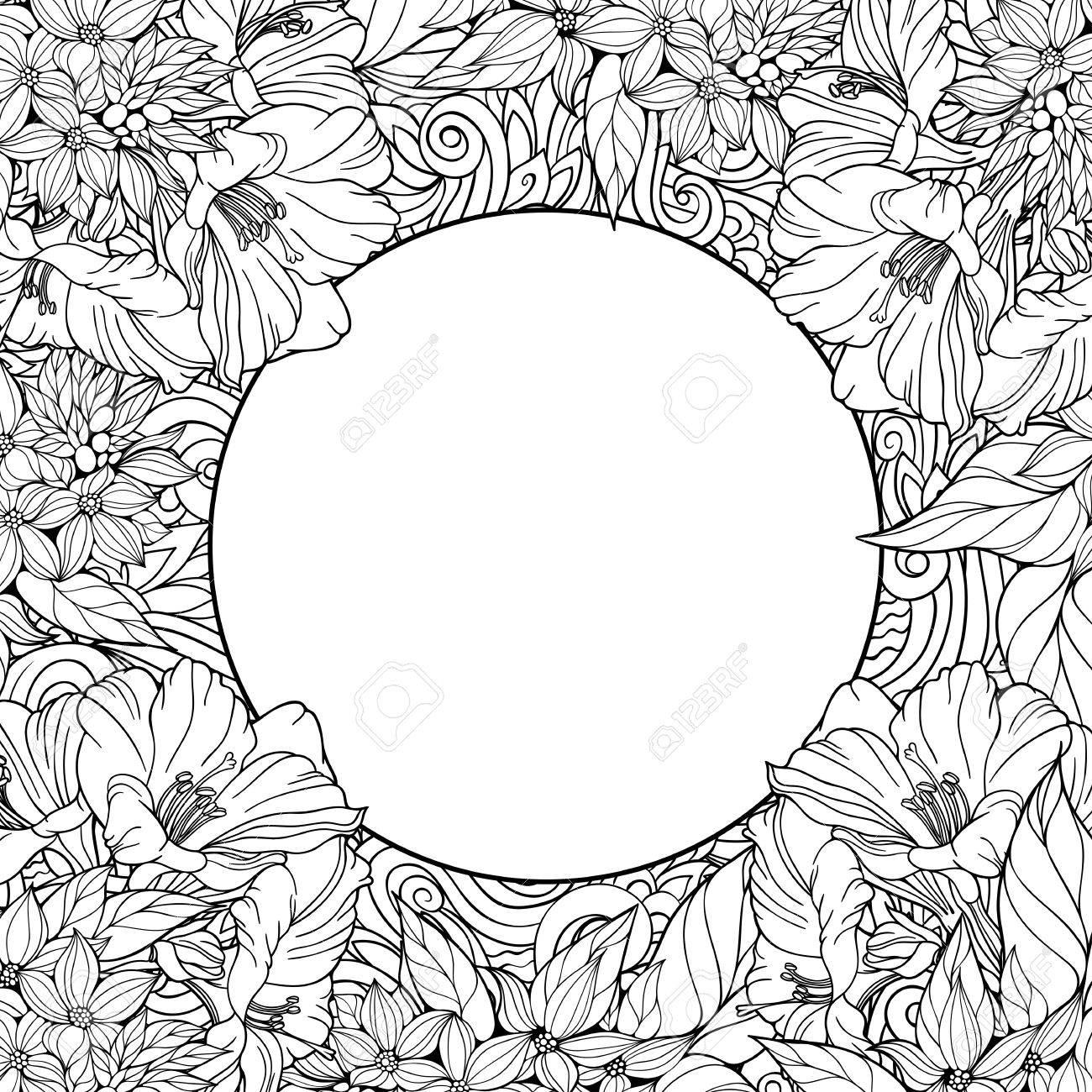 Malvorlage Mit Nahtlose Muster Von Blumen Und Platz Für Text ...