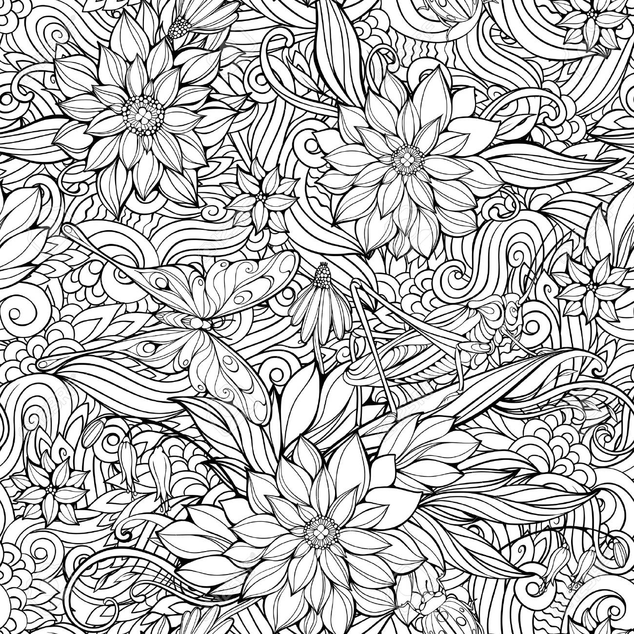 coloring page with seamless pattern of flowers butterflies and