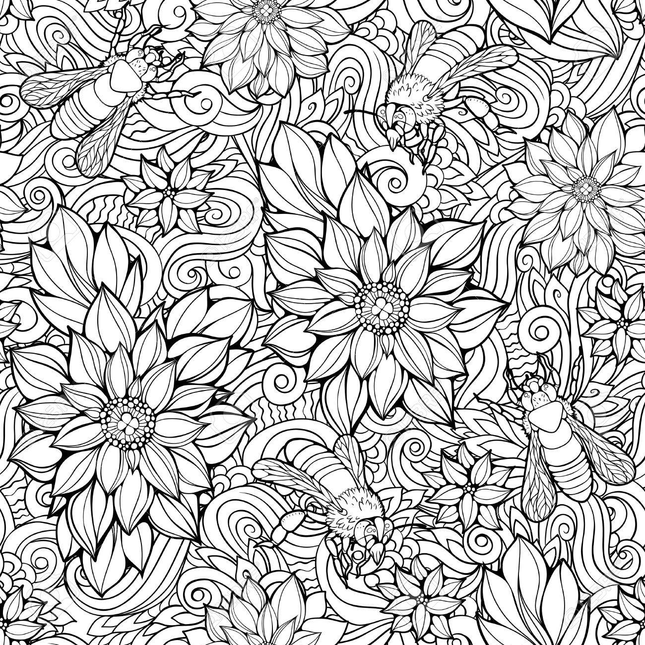 Coloring Page With Seamless Pattern Of Flowers And Bees Stock Vector
