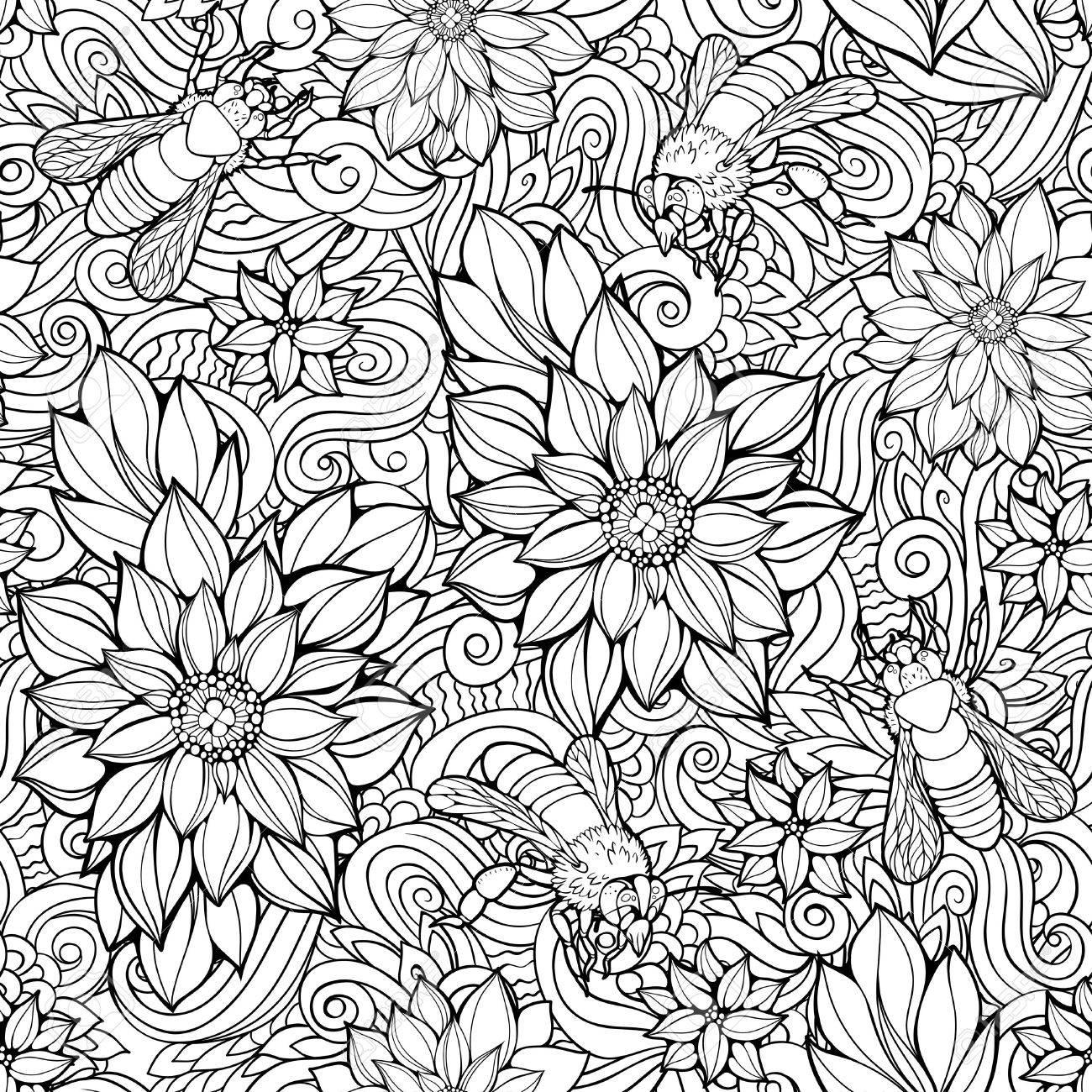 Dibujo Para Colorear Con El Modelo Inconsútil De Las Flores Y Las Abejas