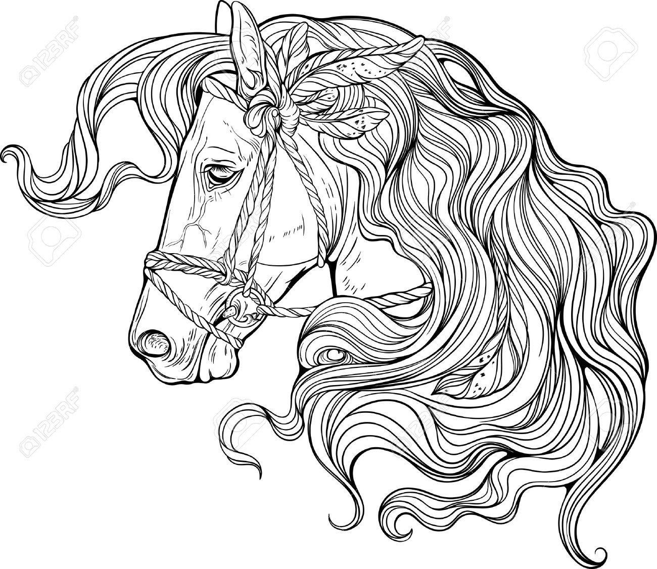 Portrait Eines Pferdes Mit Langen Dekoriert Mähne. Malvorlage
