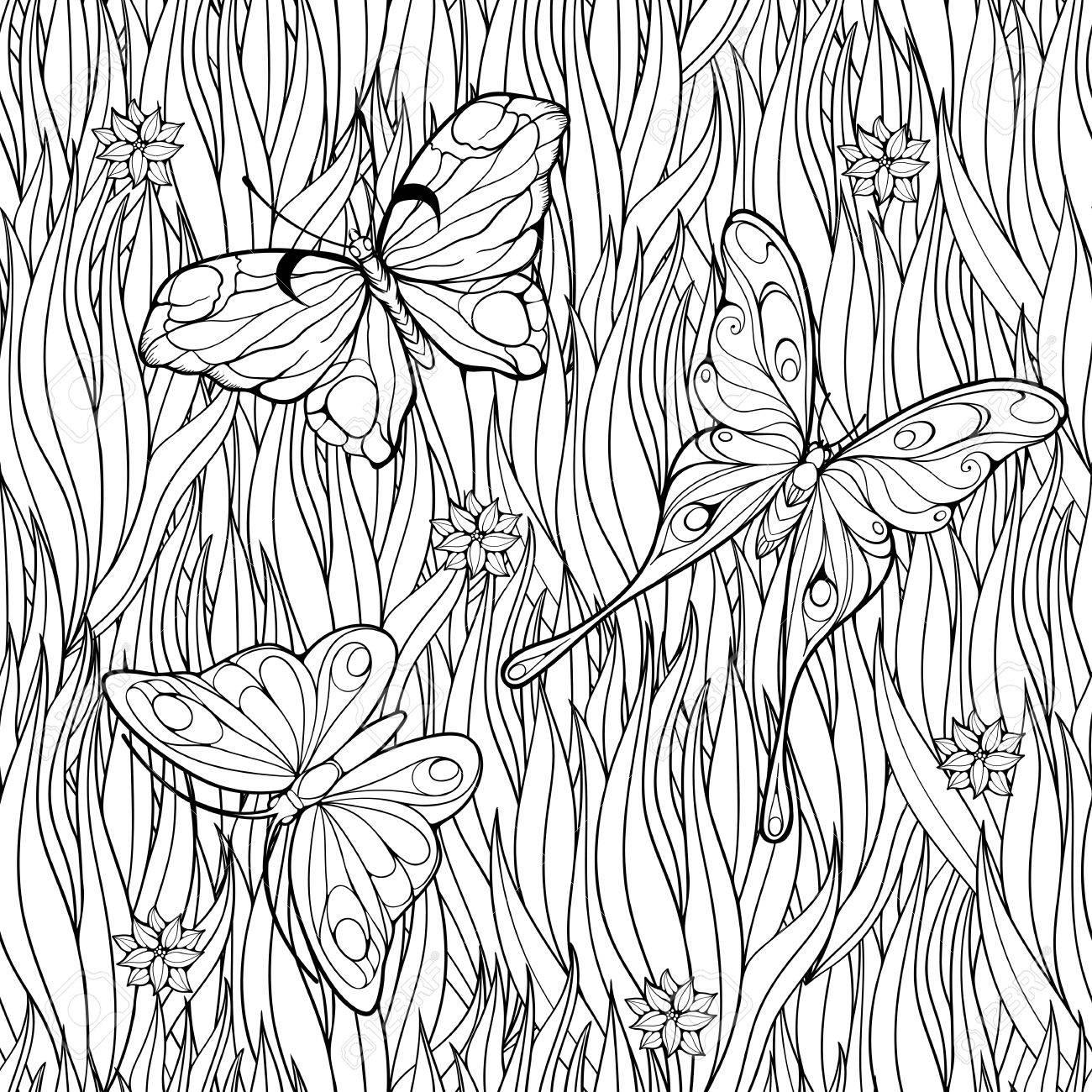 Malvorlage Mit Schmetterlingen über Gras Fliegen Und Blumen ...