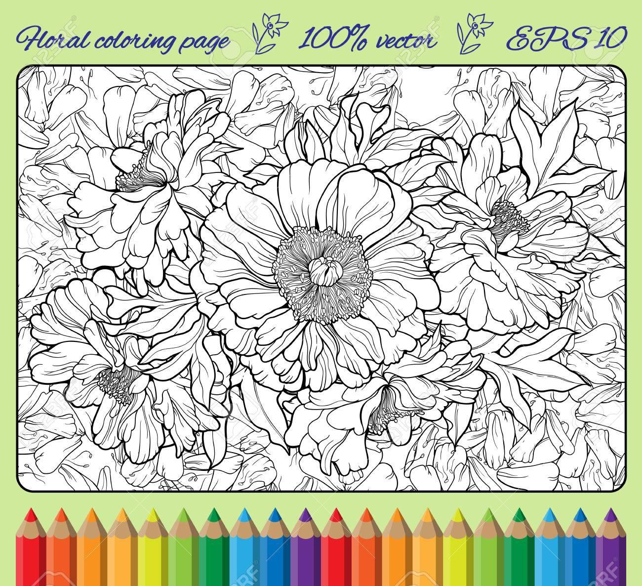 Dibujo Para Colorear Con Muchas Flores En Un Marco Con Lápices