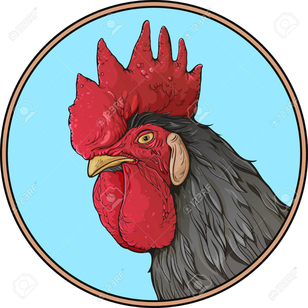Colorful Image Of Rooster\'s Head With Black Feathers In A Simple ...