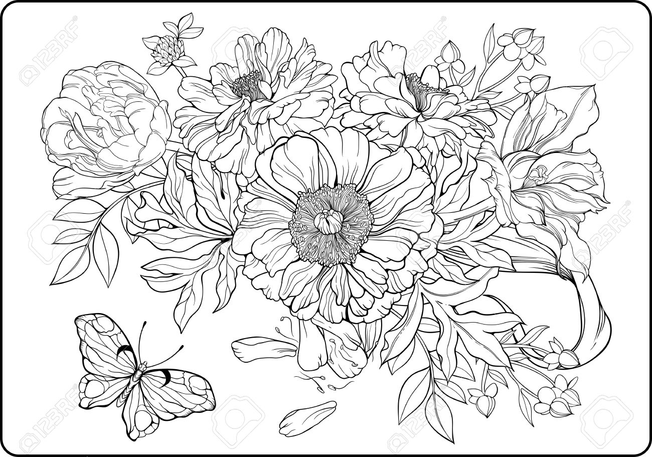 Excepcional Ramos De Flores Para Colorear Composición - Dibujos Para ...