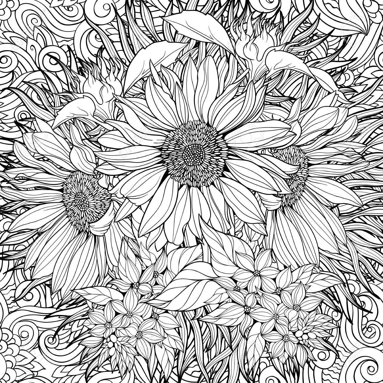 Nahtlose Muster Aus Schwarzen Und Weißen Sonnenblumen. Malvorlage ...