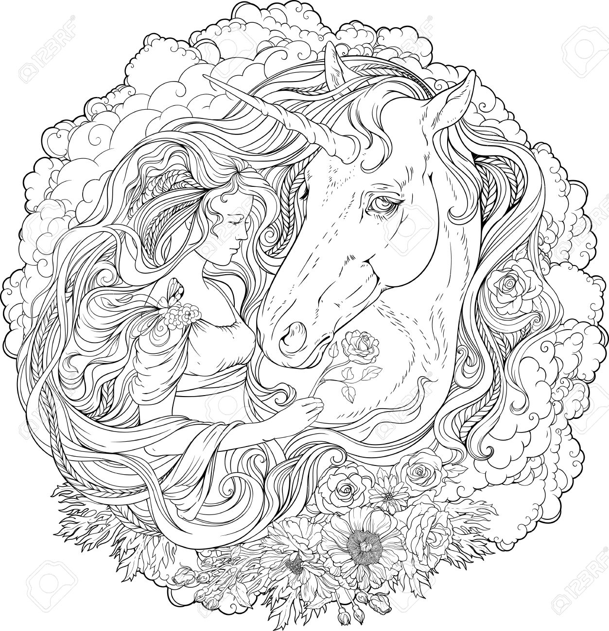 Image Of A Unicorn And A Girl In Clouds. Coloring Page. Royalty Free ...