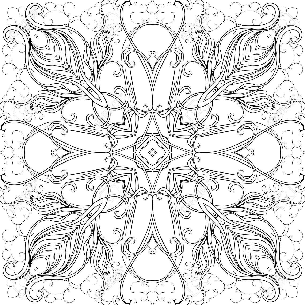 Schwarz-Weiß-Bild Der Blätter Kreuz über Wolken Bilden. Adult ...