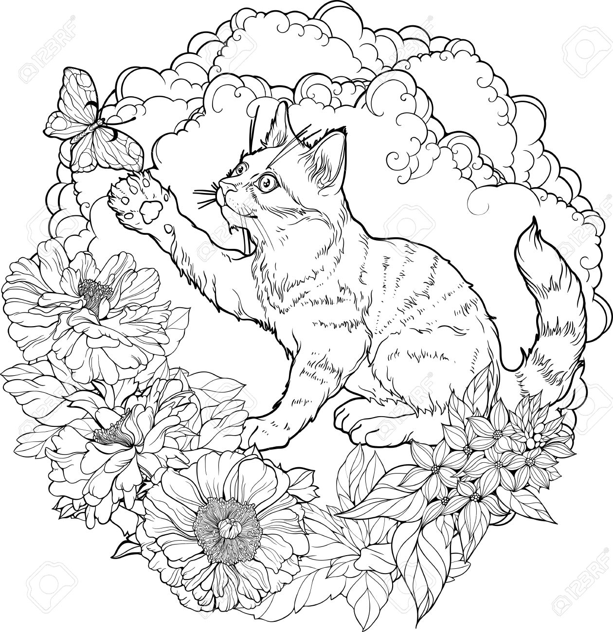 black and white illustration of cat playing with butterfly in