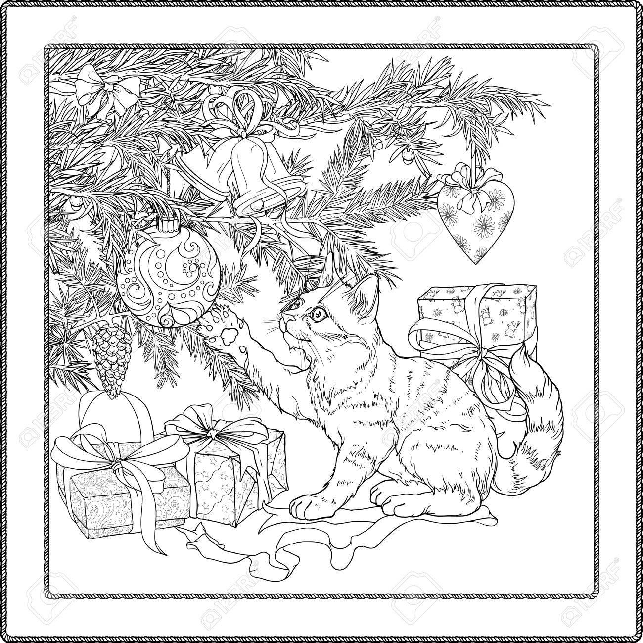 Ejemplo Blanco Y Negro Del árbol De Navidad, Regalos Y Gato Juguetón ...