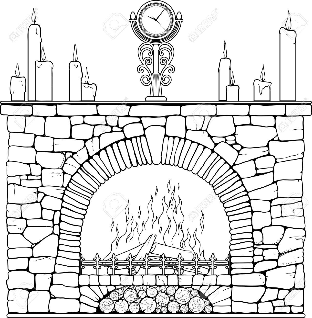 Cheminée En Pierre Avec Horloge Et Candels. Coloriage. Clip Art