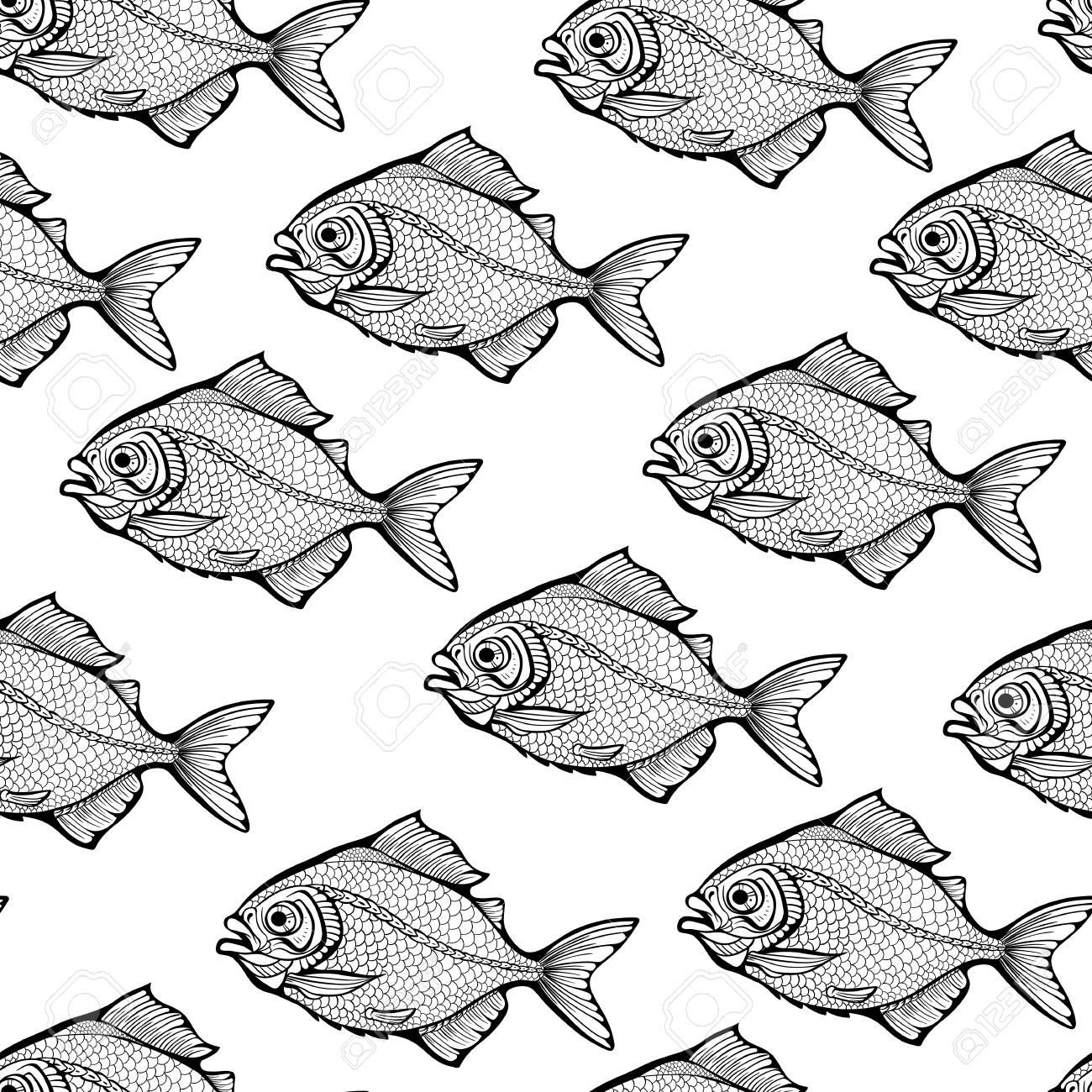 Patrón De Peces En Blanco Y Negro Ilustraciones Vectoriales Clip