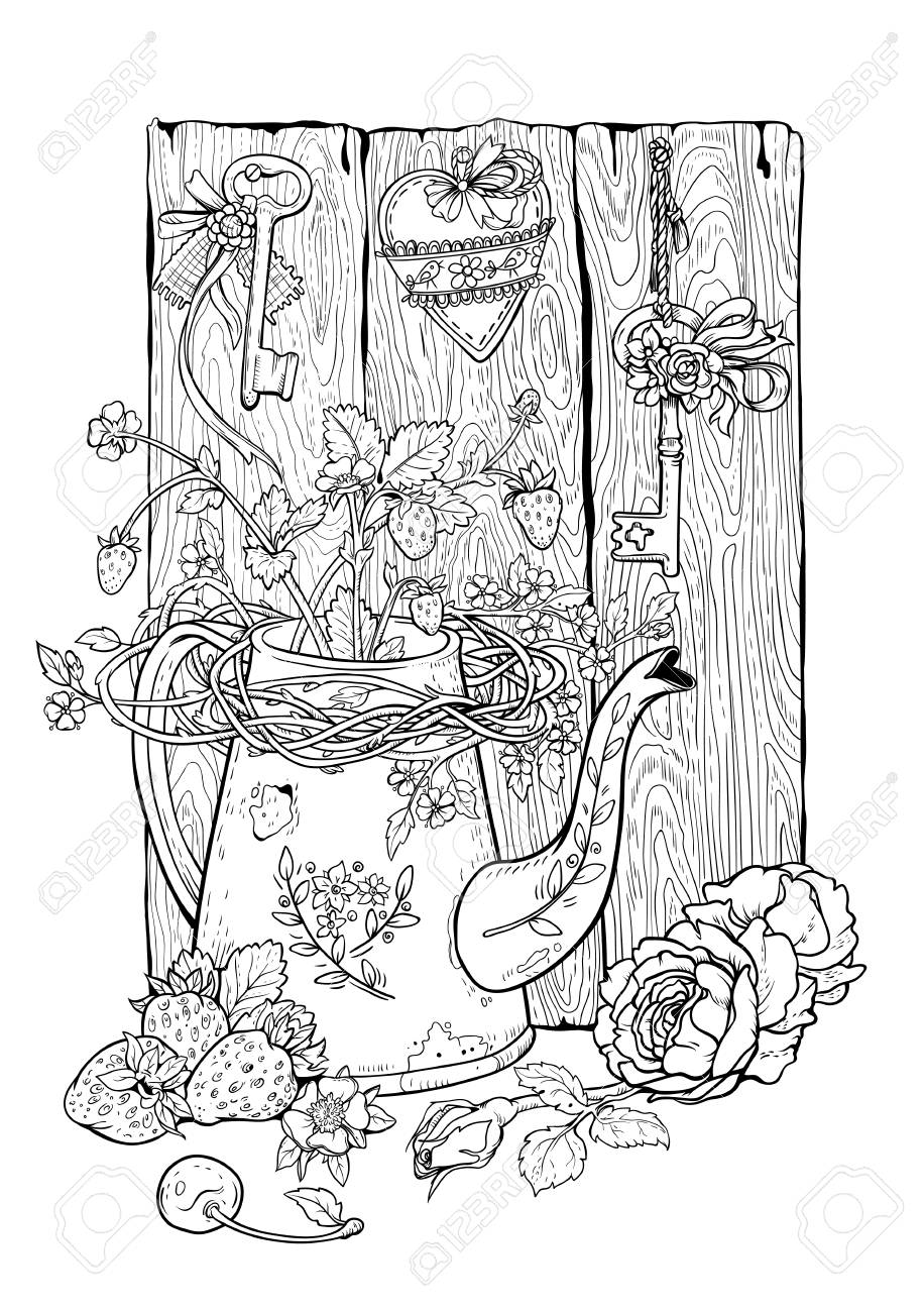 Drawing Of Flower Pot Berries And Flowers With Rural Decor Royalty Free Cliparts Vectors And Stock Illustration Image 125408182