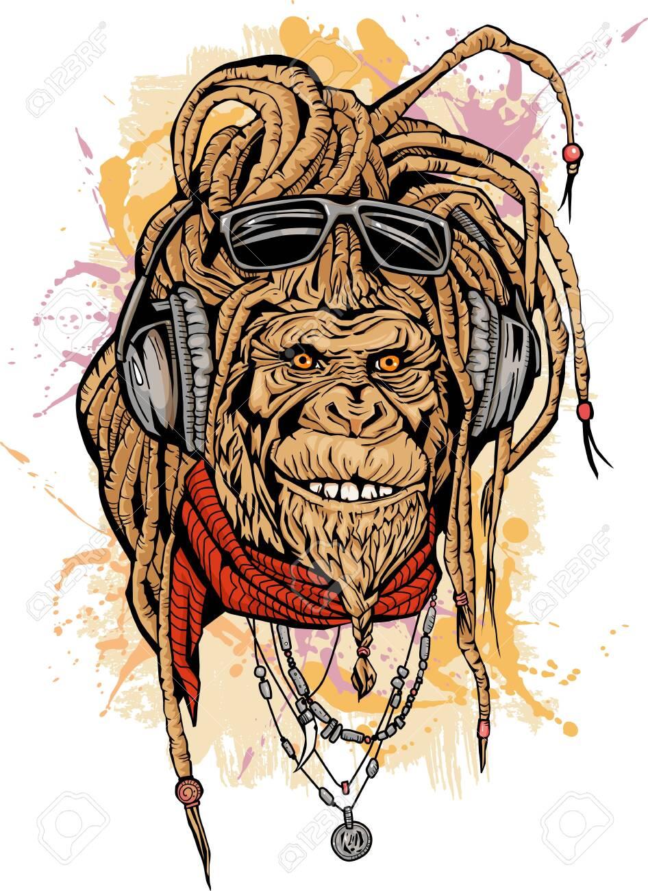 Portarit of club DJ rasta mokey with color - 134470561