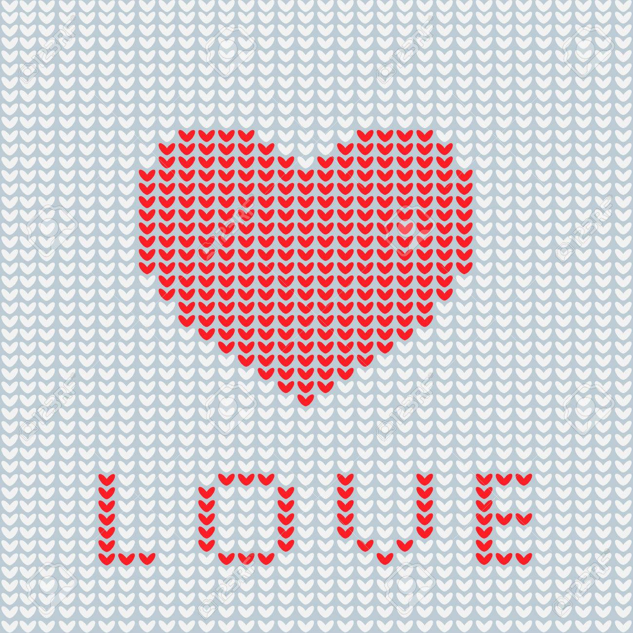 Stricken Ist Liebe. Strick-Herz-Symbol. Modernes Strickmuster. Flach ...