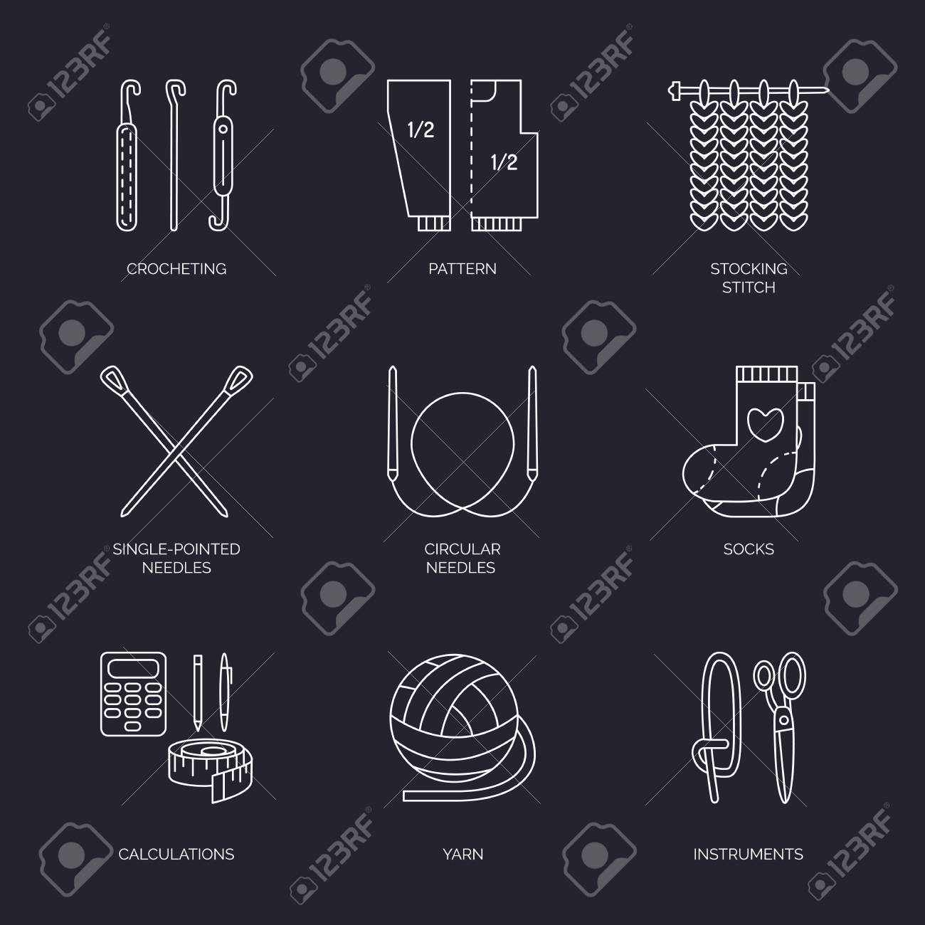 Vector Line Icons Collection Of Knitting And Crochet Hand Made Royalty Free Cliparts Vectors And Stock Illustration Image 66481421
