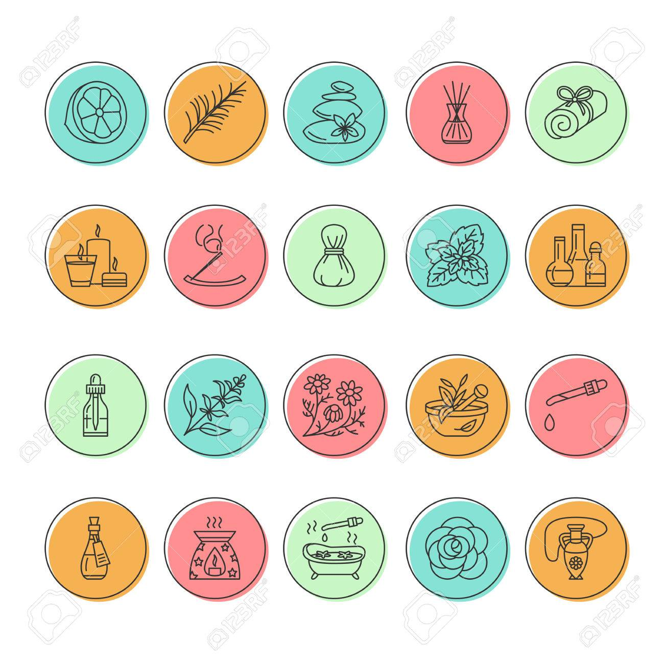 Modern vector line icons of aromatherapy and essential oils. Elements - aromatherapy diffuser, oil burner, spa candles, incense sticks. Linear pictogram with editable strokes for aromatherapy salon. - 66482718