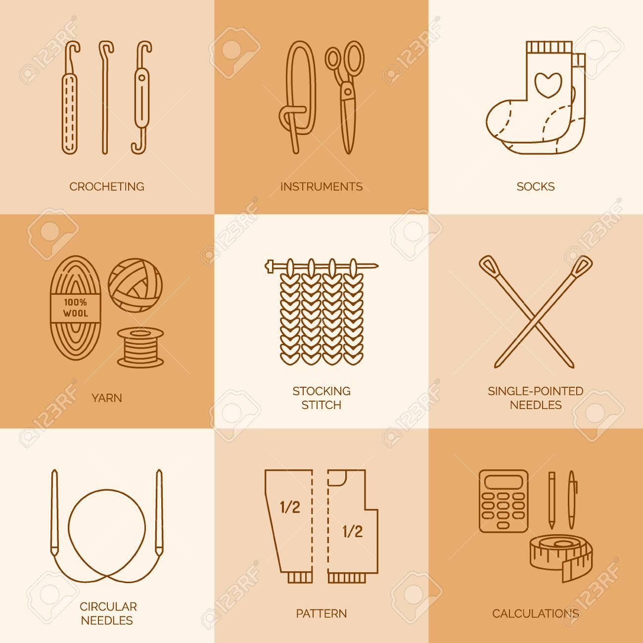 Iconos De Líneas Modernas Vector Conjunto De Punto Y Ganchillo ...