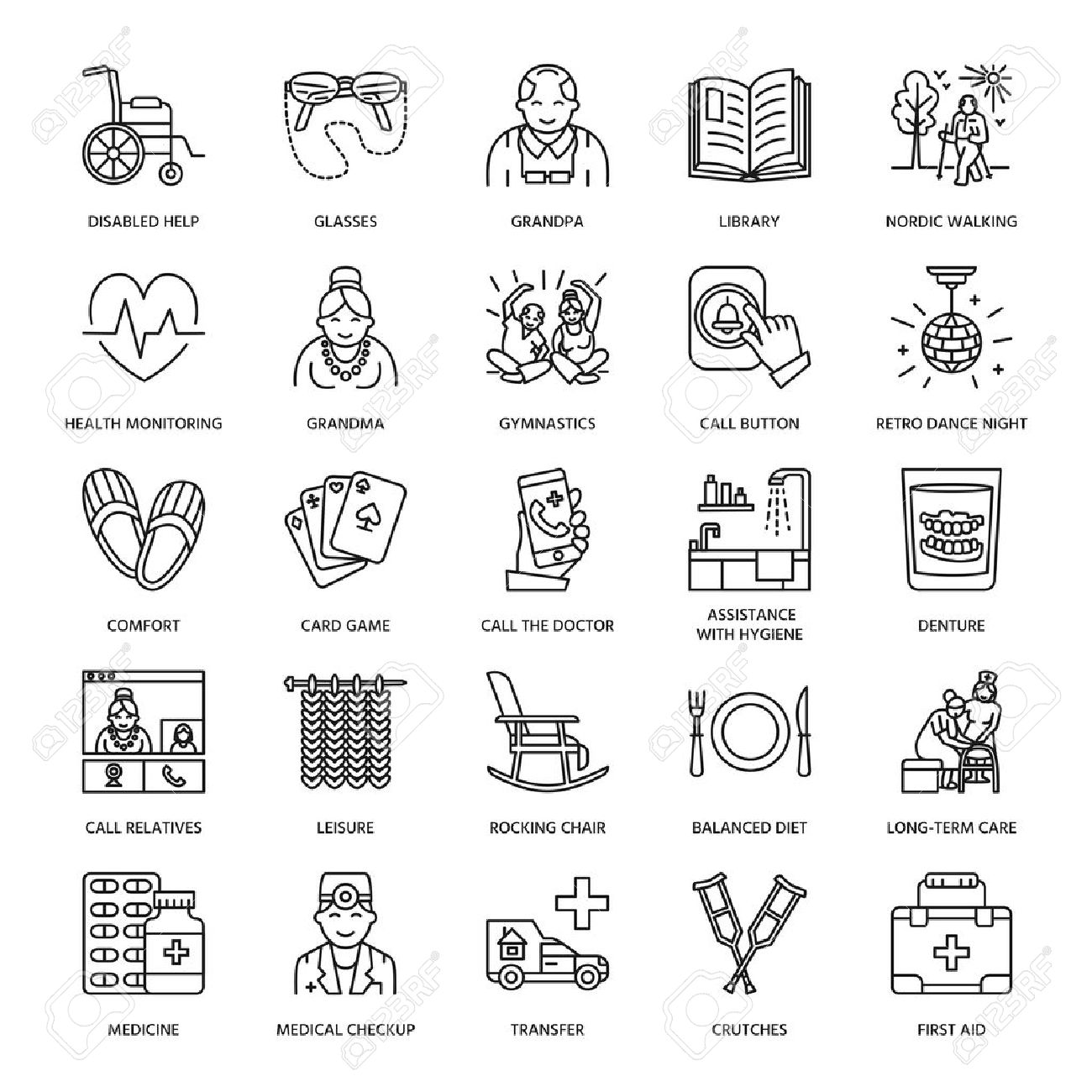 Modern vector line icon of senior and elderly care. Nursing home elements - old people, wheelchair, leisure, hospital call button, medicines. Linear pictograms with editable stroke for sites, brochures. - 66481647