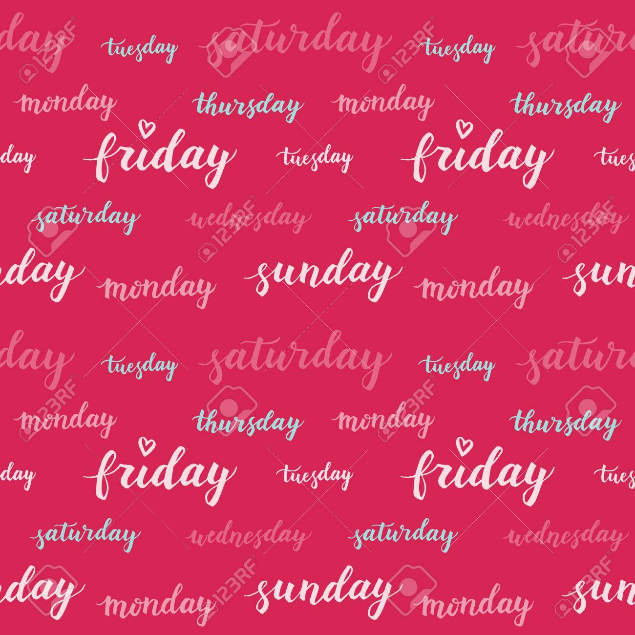 Seamless pattern with days of week  Decorative vector hand drawn