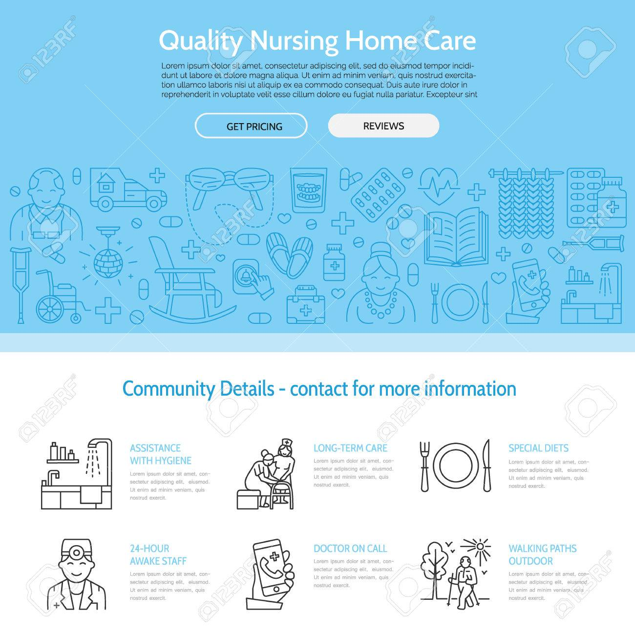 Modern vector line icon of senior and elderly care. Nursing home elements - disabled, medicines, hospital call button, leisure. Linear medical template for sites, brochures, poster. Editable strokes. - 66481864