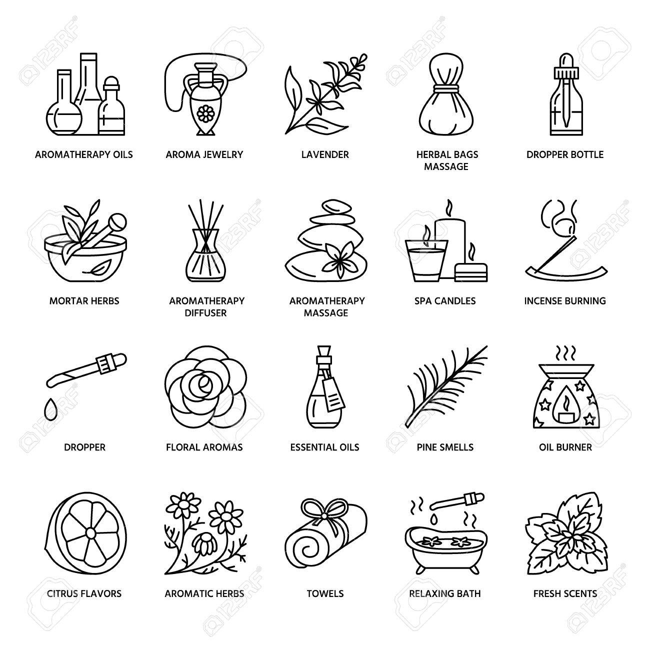 Modern vector line icons of aromatherapy and essential oils. Elements - aromatherapy diffuser, oil burner, spa candles, incense sticks. Linear pictogram with editable strokes for aromatherapy salon. - 66481866
