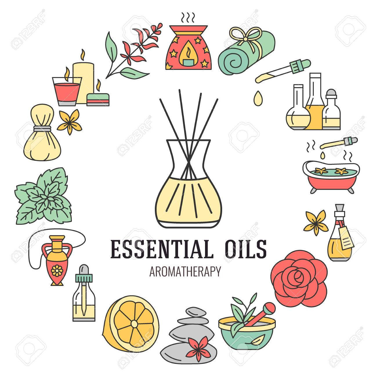 Aromatherapy and essential oils brochure template. Vector line illustration of aromatherapy diffuser, oil burner, spa candles, incense sticks, herbal bag massage. Aromatherapy poster, editable stroke - 66481868