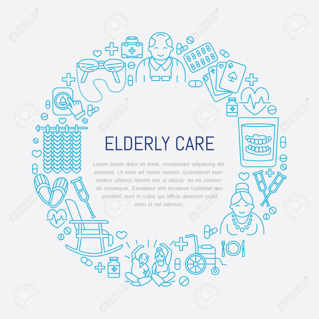 Modern vector line icon of senior and elderly care. Medical poster template with illustration of old people, wheelchair, leisure, hospital call button, leisure. Linear banner - 66481882