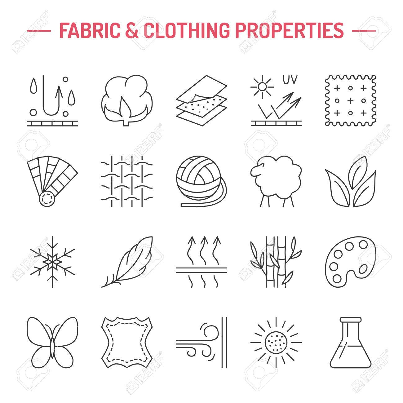 Vector line icons of fabric feature, garments property symbols. Elements - cotton, wool, waterproof, uv protection. Linear wear labels, textile industry pictograms for clothes. - 66481894